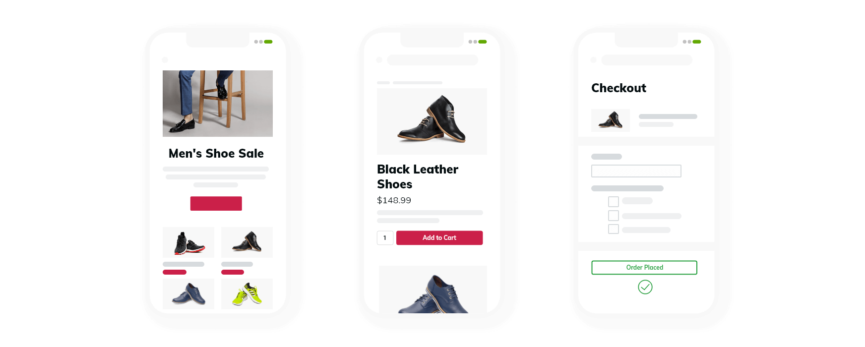 Mobile view eCommerce site illustrations